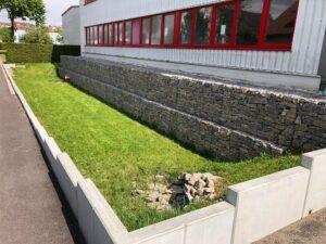 Eidechsen Habitat in der Gabionen Wand